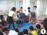 自転車発電体験写真